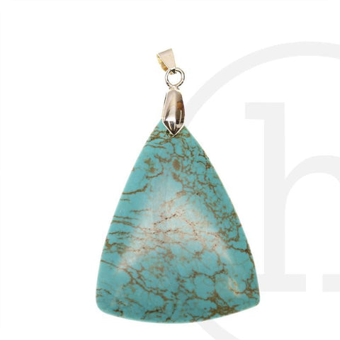 40X50mm Turquoise Dyed Howlite Triangle Drop