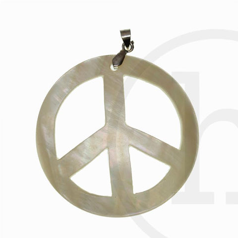 50mm, Natural, Peace Sign, Pendant, Shell, Shell Pendant