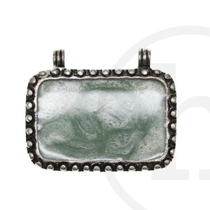 40X60mm  Aqua Rectangle Silver PlatedPendant by Bead Gallery