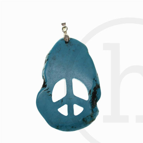 Turquoise Dyed Howlite Peace Sign