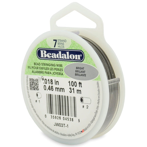 7 Strand Stainless Steel Bead Stringing Wire, .018 in (0.46 mm), Bright, 100 Ft (31 M)