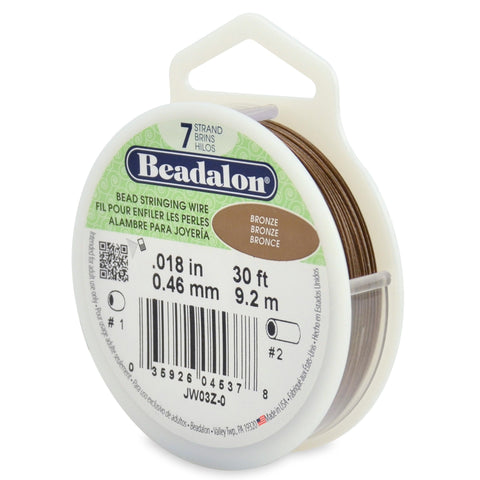 7 Strand Stainless Steel Bead Stringing Wire, .018 in (0.46 mm), Bronze, 30 Ft (9.2 M)