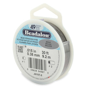 49 Strand Stainless Steel Bead Stringing Wire, .015 in (0.38 mm), Bright, 30 Ft (9.2 M)