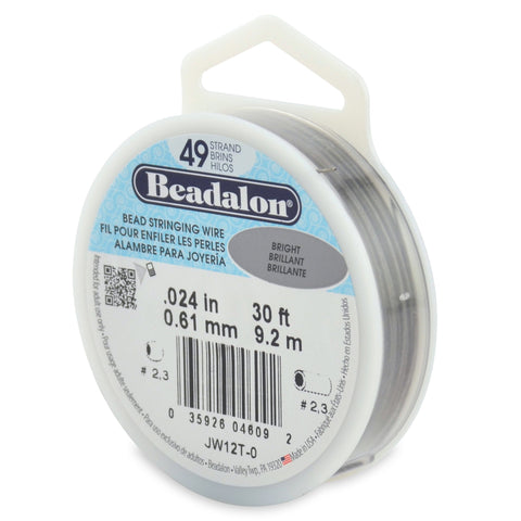 49 Strand Stainless Steel Bead Stringing Wire, .024 in (0.61 mm), Bright, 30 Ft (9.2 M)