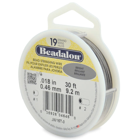 19 Strand Stainless Steel Bead Stringing Wire, .018 in (0.46 mm), Bright, 30 Ft (9.2 M)