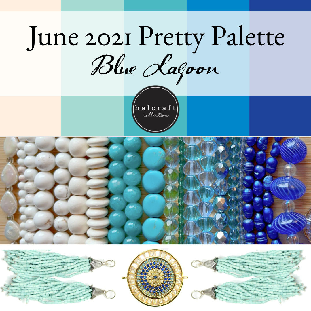 June 2021 Pretty Palette Bead Kit with cream, turquoise, and blue beads
