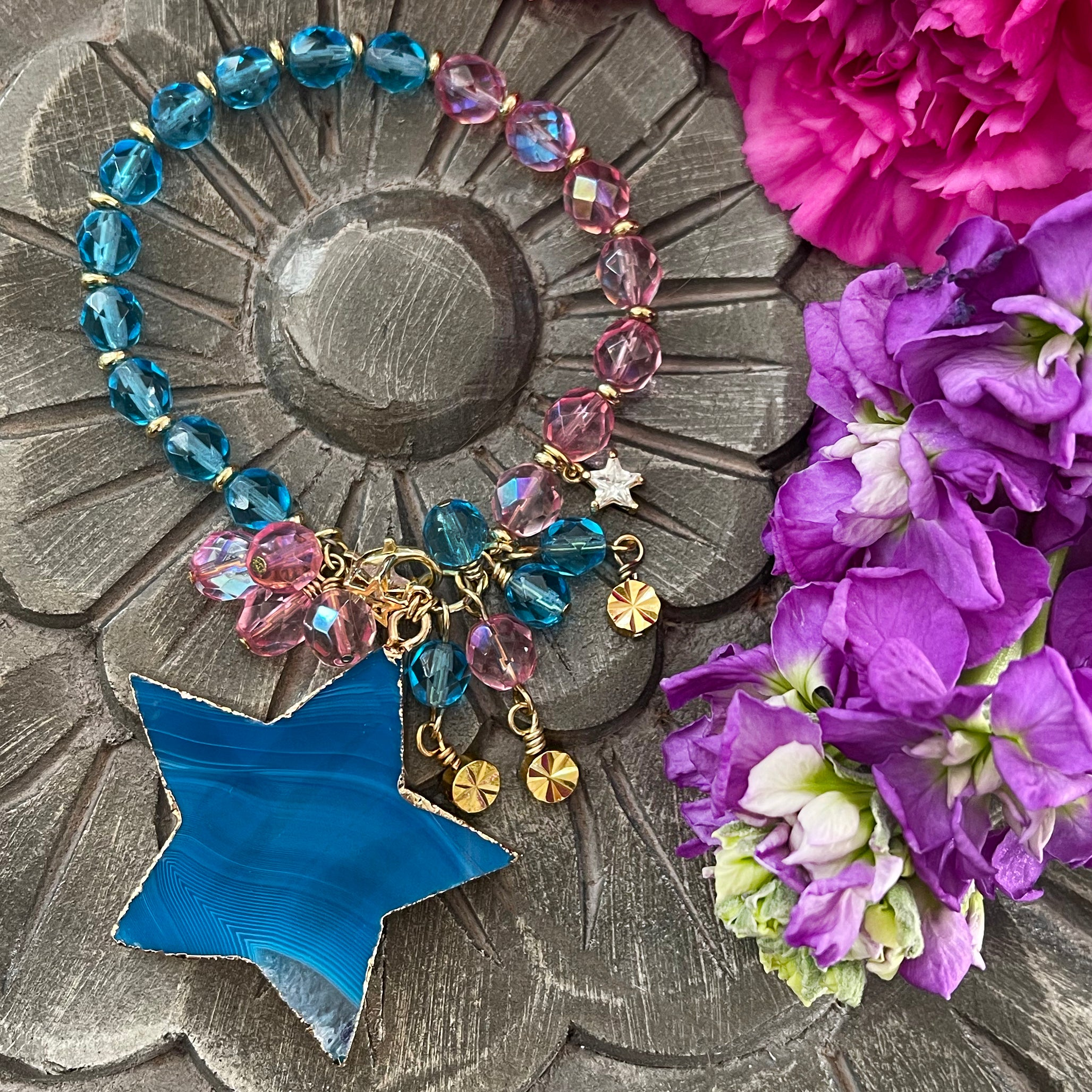 colorful glass bead bracelet with star pendant