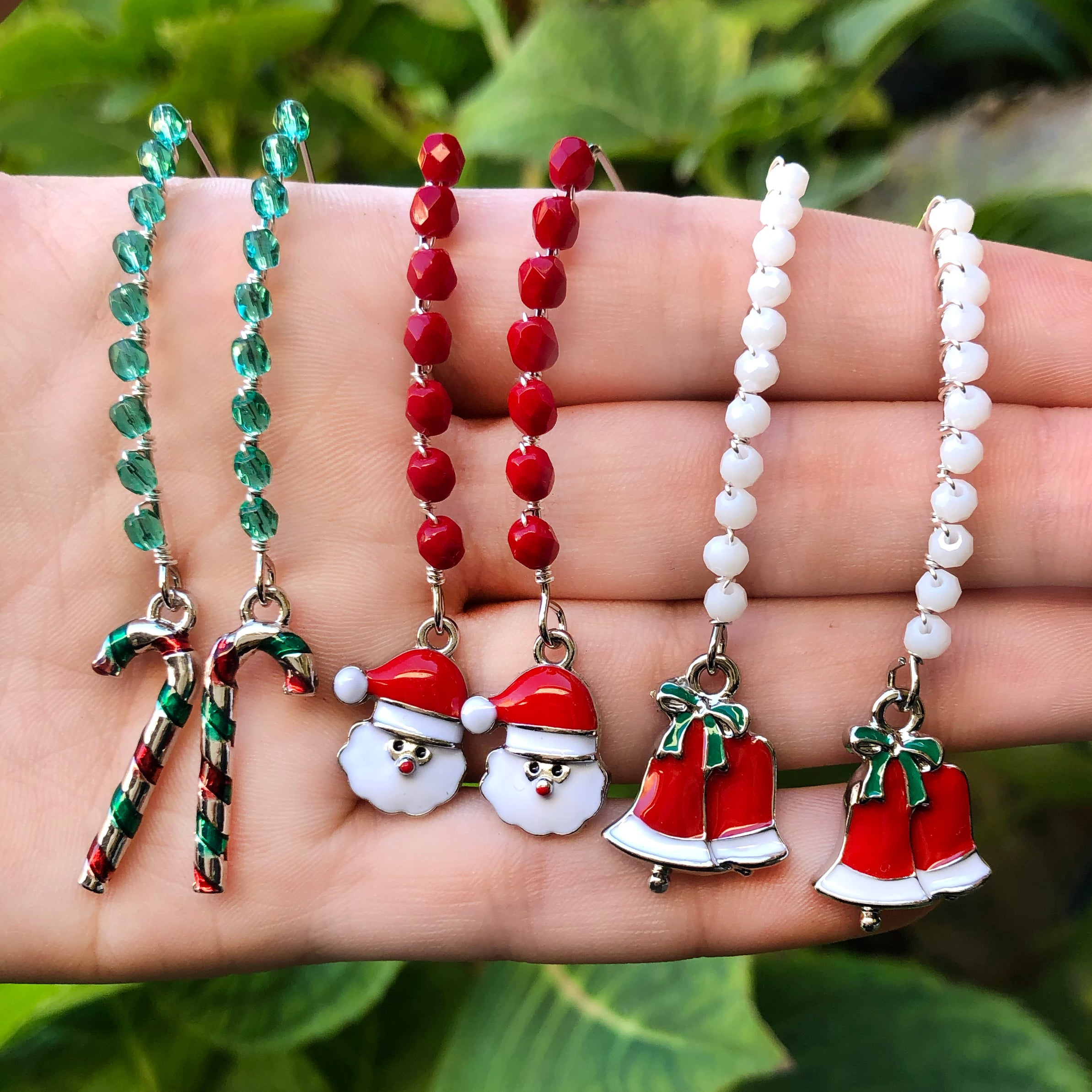 Christmas Santa candy cane bells jewelry