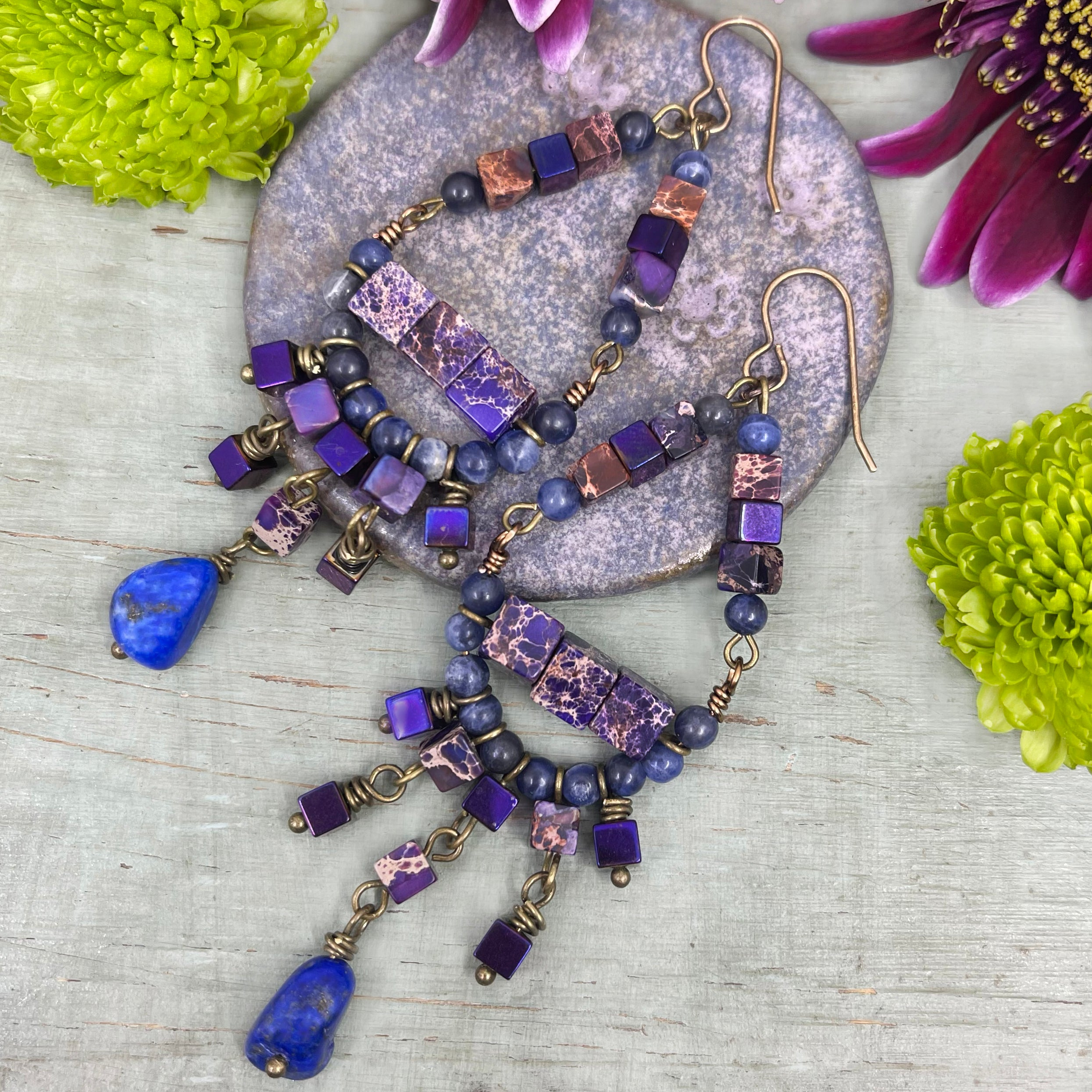 wire wrapped Blue and purple beaded earrings