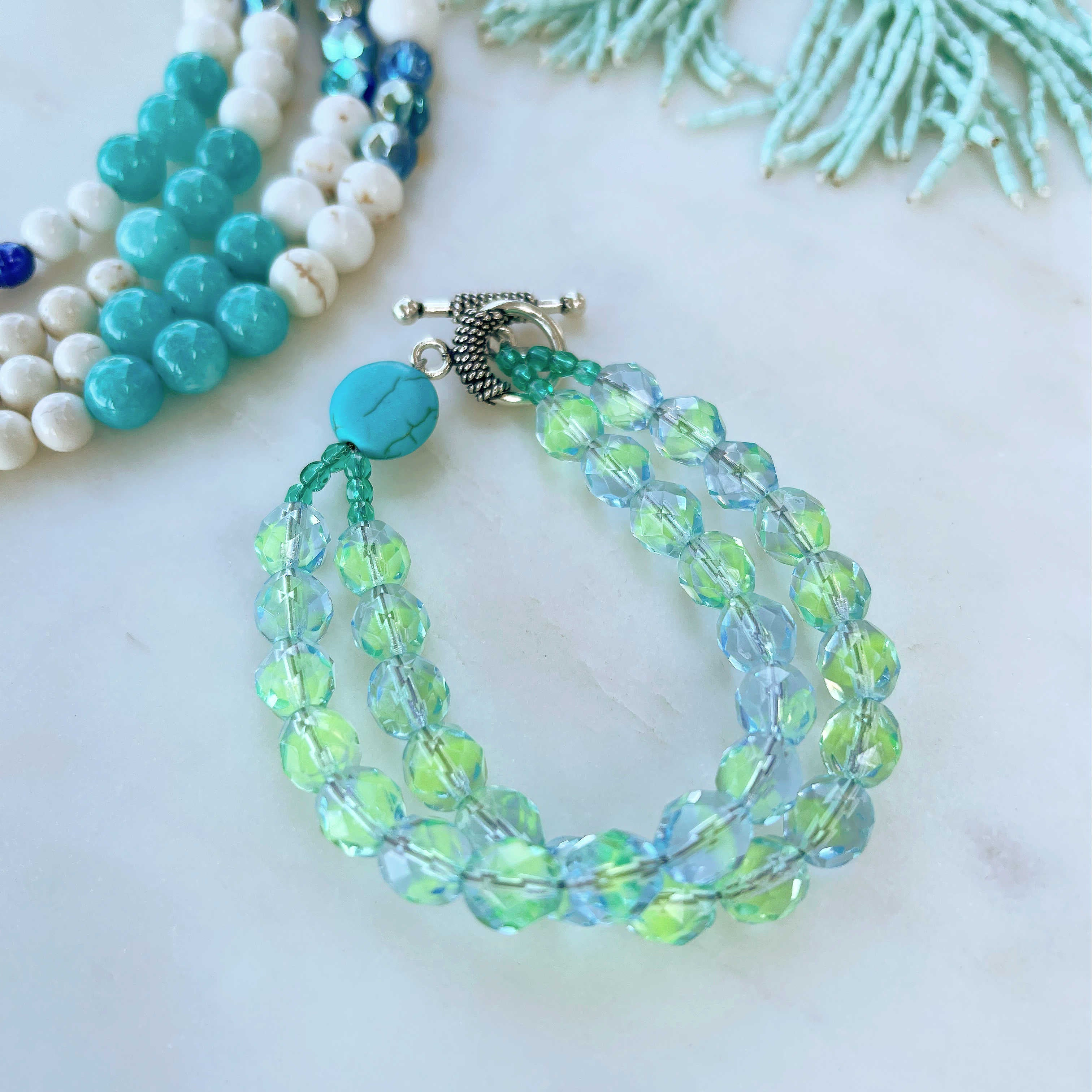 Czech glass bracelet with blue and turquoise beads