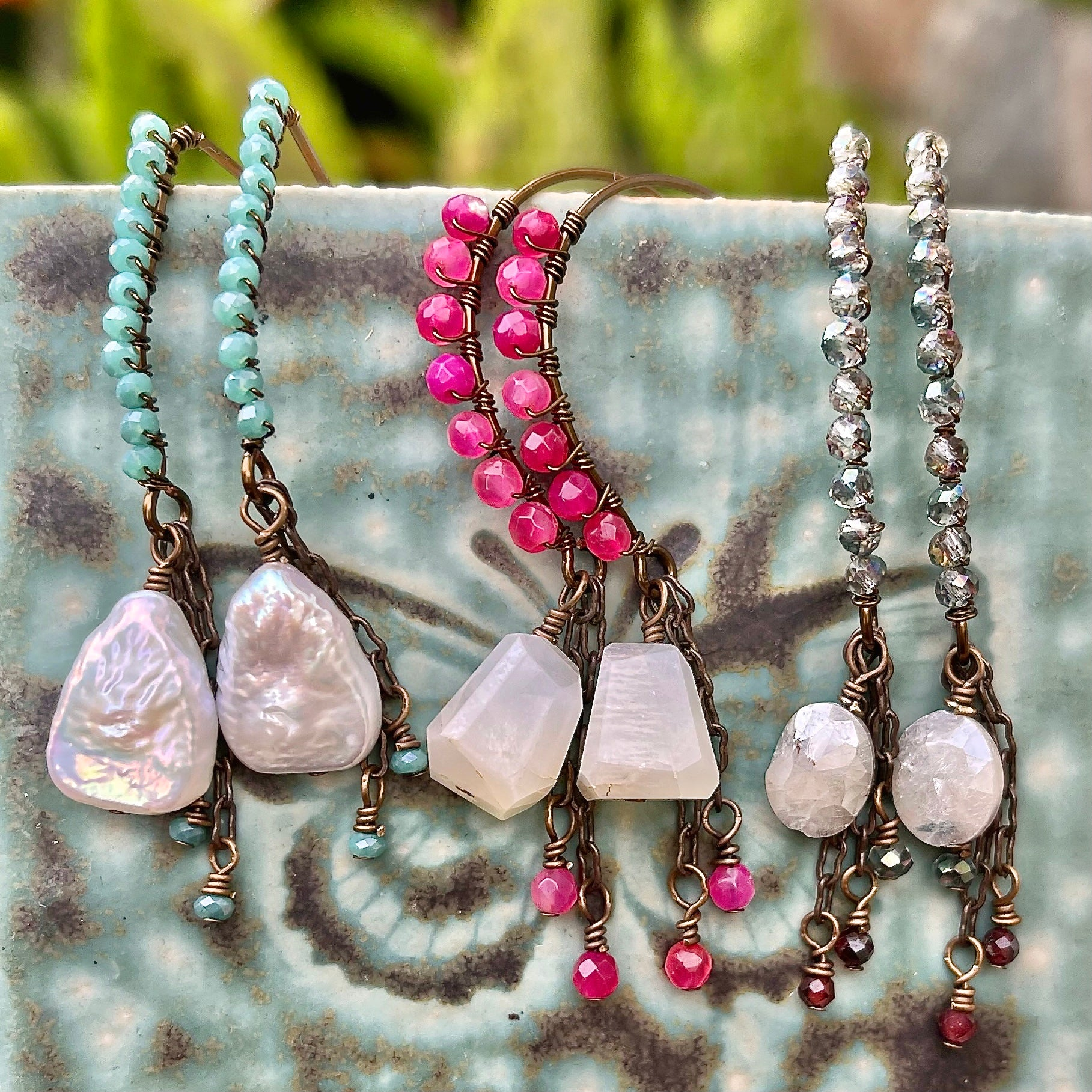 wire wrapped pink, moonstone and pearl beaded earrings