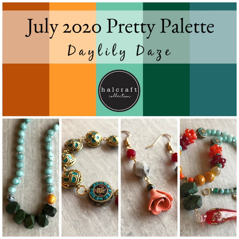 bead strands in red, orange, yellow, turquoise, and green as well as prange flower pendants