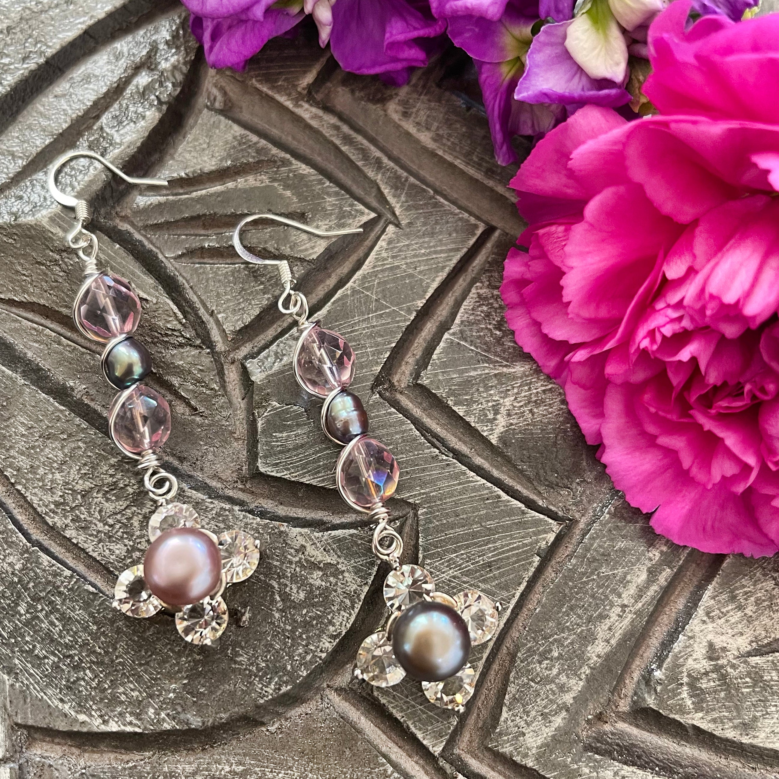 wire wrapped pink and pearl beaded earrings
