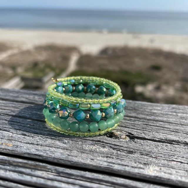 green stone and glass bead cuff style bracelet