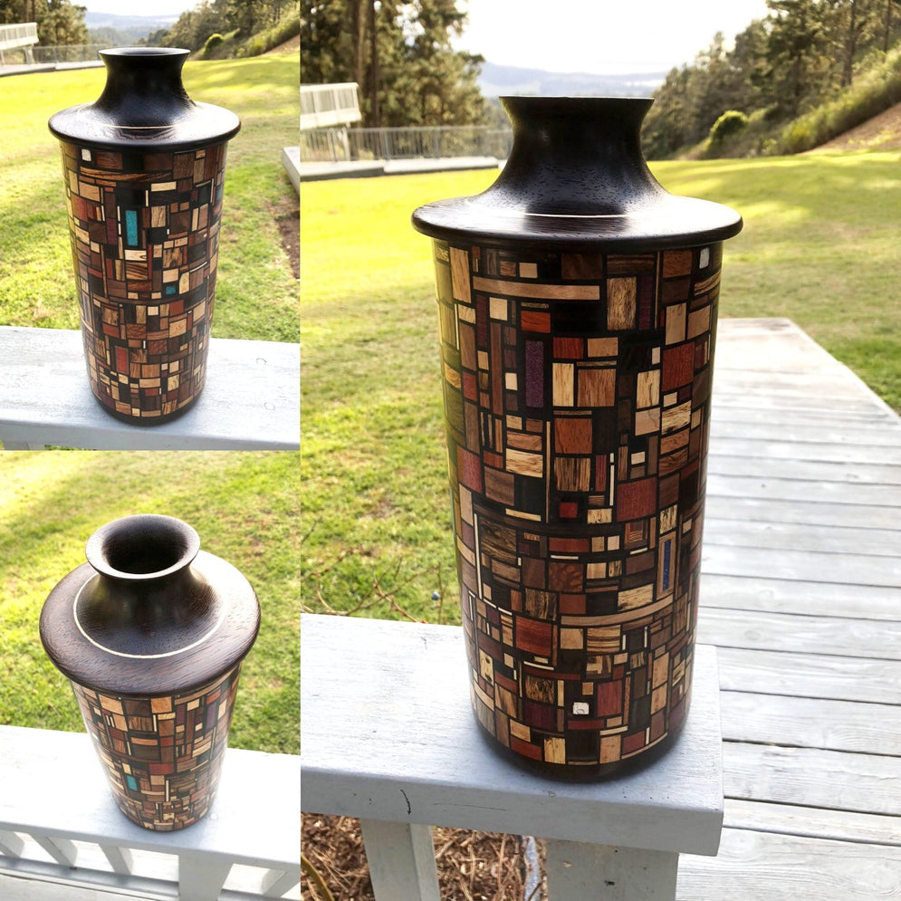 Vase From 16 Different Woods & Stone