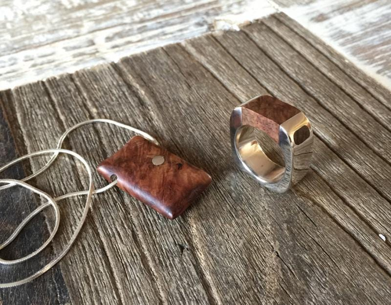 Fancy Amboyna Burl Pendant & Ring
