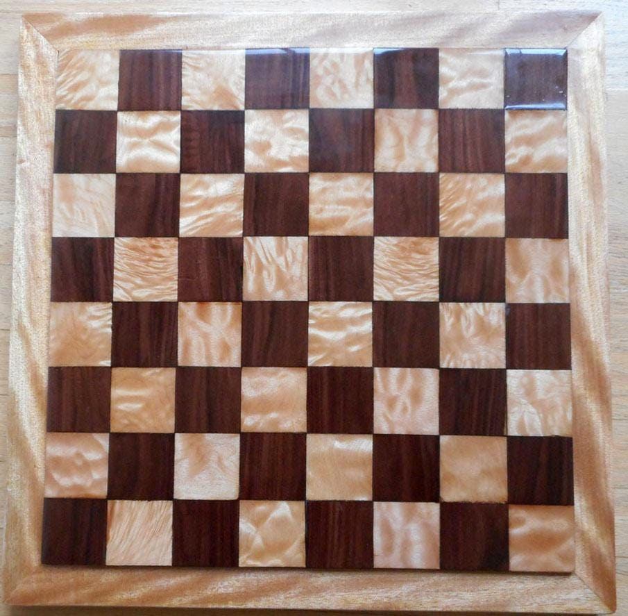 Chess Board in Quilted Maple, Bolivian Rosewood, and Figured Okoume