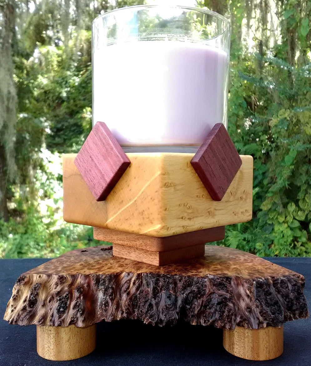 Candle Pedestal in Purpleheart, Redwood Lace Burl, Bird's Eye Maple, and African Mahogany