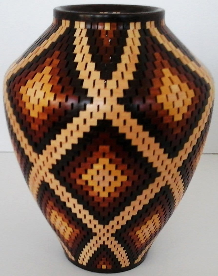 Segmented Vase in Maple, Bloodwood, Pernambuco, and Yellowheart
