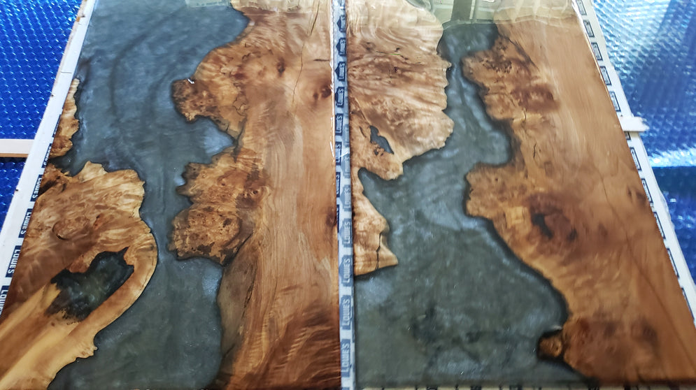 Maple Burl and Epoxy End Table
