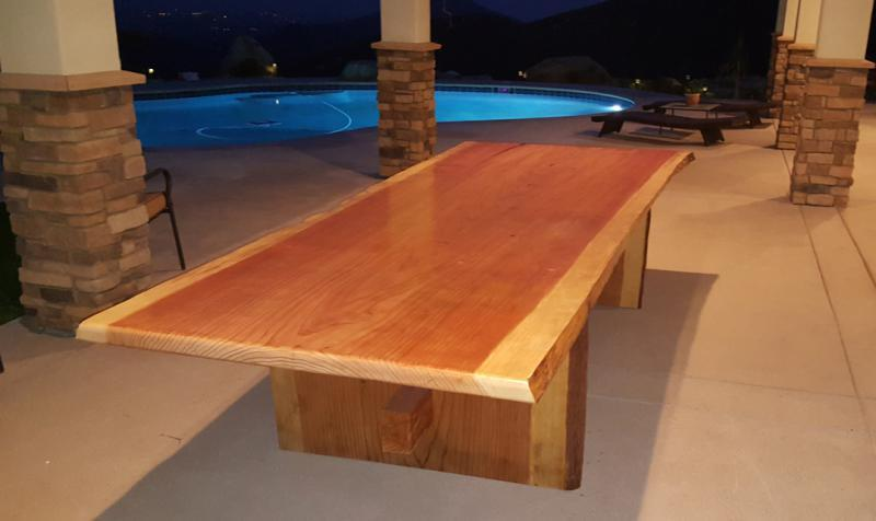 Redwood Slab Table