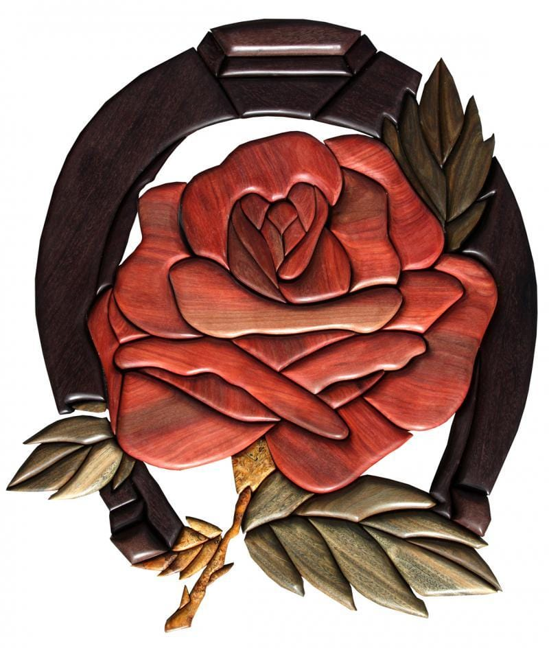 Intarsia Rose: Redheart, Vera, Katalox, Stabilized Maple