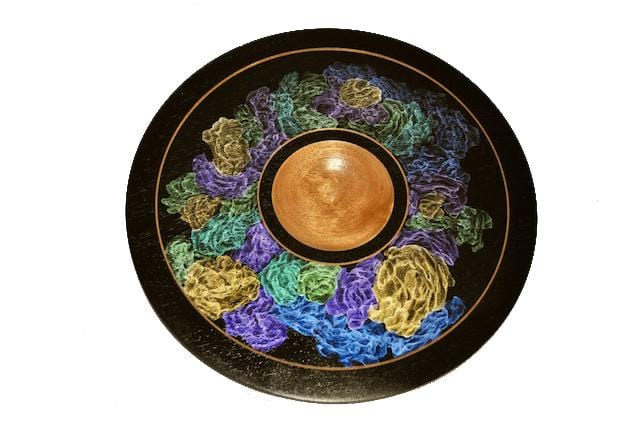 Wood Platter With Iridescent Paint