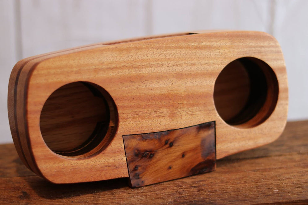 Mahogany, Thuya Burl, and White Oak Cell Phone Amplifier