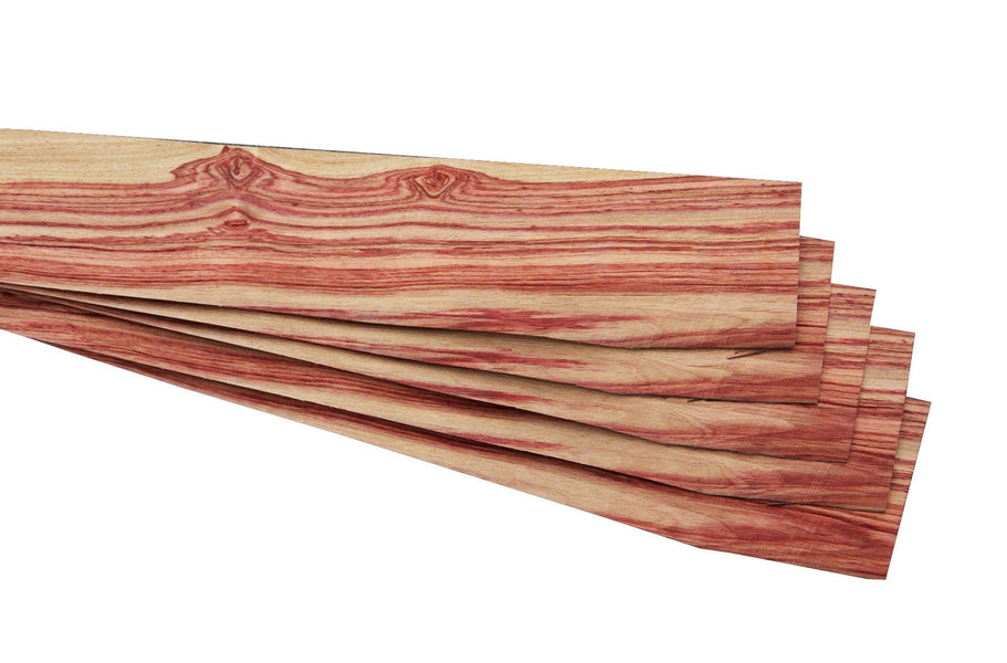 "Quartered Brazilian Tulip Rosewood Veneer Sheet (24"" x 3-3/4"" x 1/32"")"