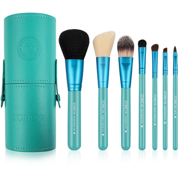 7 Professional Cone Case Brushes (TEAL)