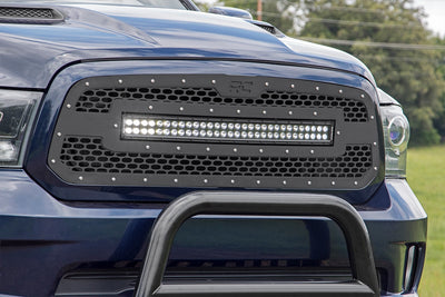 Laser-Cut Mesh Grille w/ 30-inch Black Series Dual Row CREE LED Light Bar (13-17 Ram 1500)