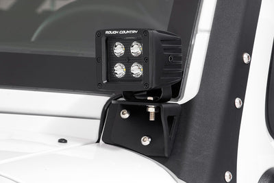Lower Windshield LED Light Mounts (Jeep JK)