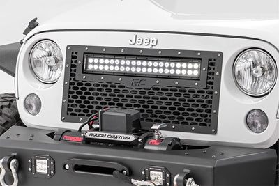 Laser-Cut Mesh Grille w/ 20-inch Black Series Dual Row CREE LED Light Bar (Wrangler JK / JKU)