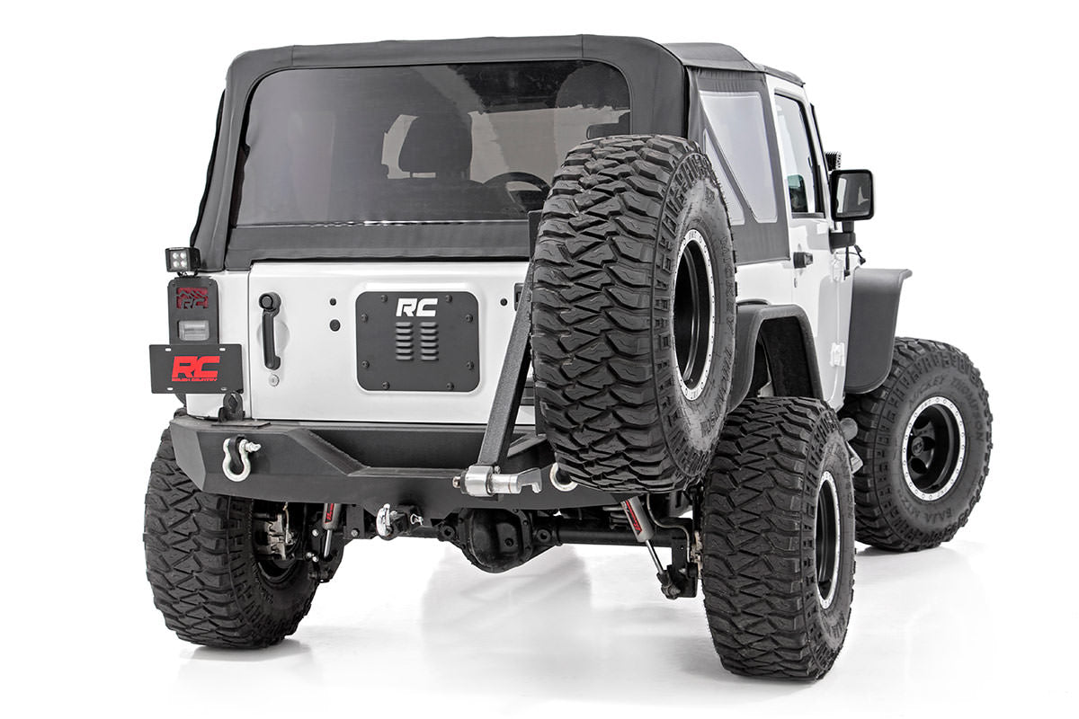 Jeep Tailgate Vent Spare Tire Mount Delete Wrangler Jk Jku White Sahara Lifted With Carrier And Led Tail Lights