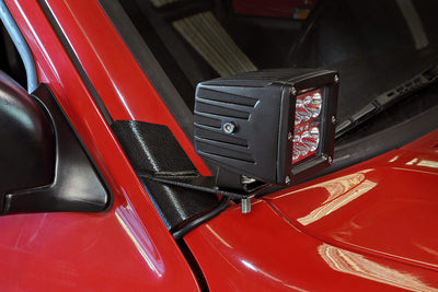 Lower Windshield LED Light Mounts (Jeep Cherokee XJ / Comanche MJ)