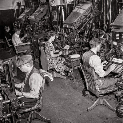 New York Times  Newspaper Composition Room, Linotype Operators, 1942 HistoricalPix