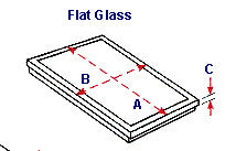 Flat glass skylight drawing with illustrated measurements.