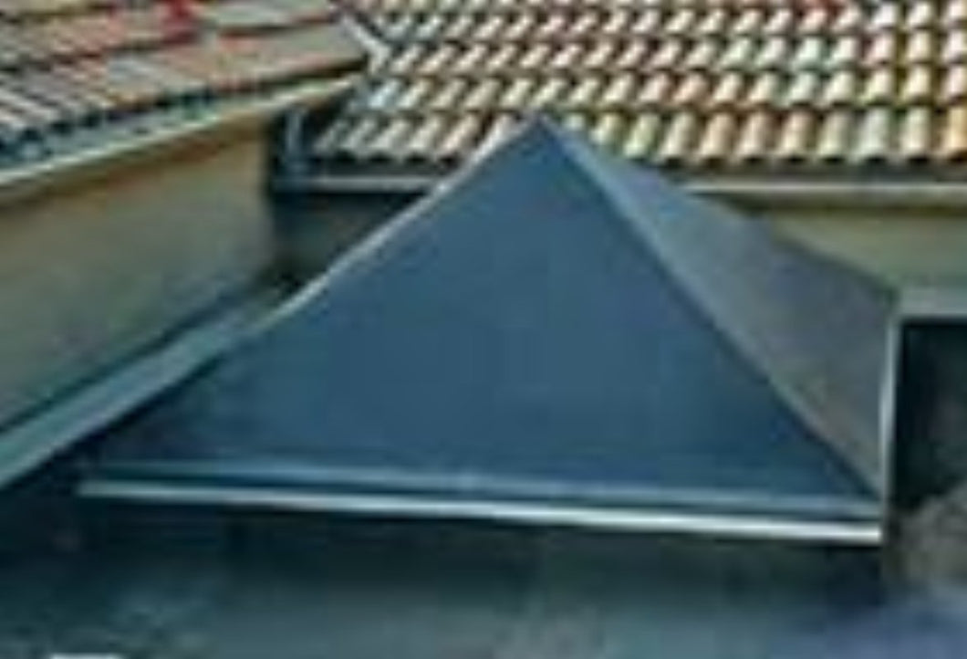 Square pyramid skylight with light gray shade.