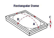 Drawing illustrates how to measure your single dome skylight.