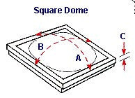 Drawing illustrating measurments of a square dome skylight.