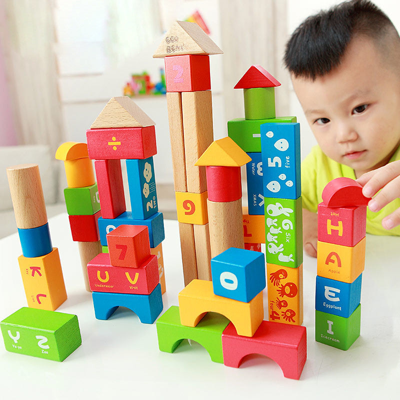 New 50PCS Wood Building Blocks Digital and Alphabet Blocks Toy for Children Educational Kids Toys for Early Learning Development