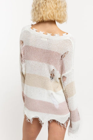 Come Out To Play - Distressed Sweater