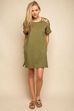 Day Out With Friends - Olive Dress
