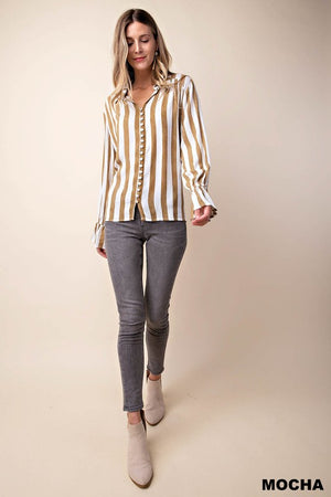 Truth or Dare - Stripe Mocha Blouse