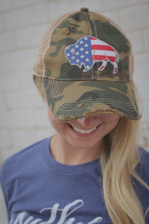 XXX Free To Roam Camo Distressed Hat