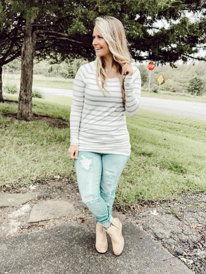 Gray and White Stripe Long Tunic