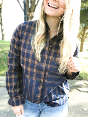 November Holiday - Navy and Camel Plaid Button Up