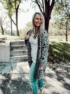 The Faded Leopard - Olive Leopard Cardigan