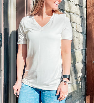 Twinkle In Time - Ivory V-neck
