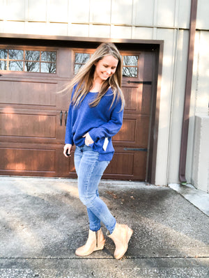 Waterfall in Love - Royal Blue Sweater